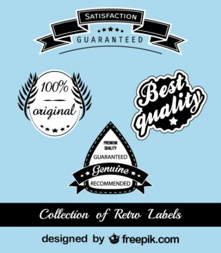 Retro Black and Blue Stickers Free Vector