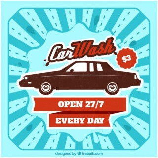 Retro Car Wash Poster Free Vector