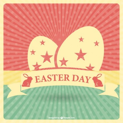 Retro Easter Card Template Free Vector
