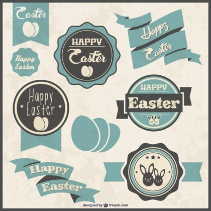 Retro Easter Labels Free Vector