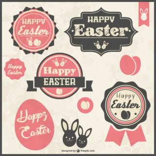 Retro Easter Stickers Free Vector