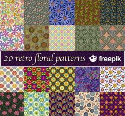 Retro Floral Patterns Freepik Free Vector