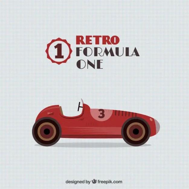Retro Formula One Car Free Vector