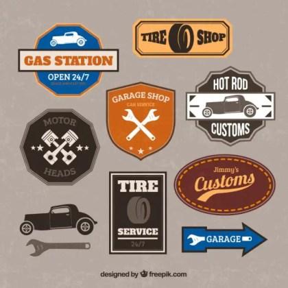 Retro Garage Badges Free Vector