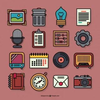 Retro Graphic Icons Free Vector