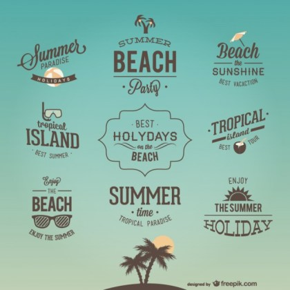 Retro Holiday Lettering Designs Free Vector