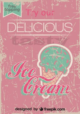 Retro Ice Cream Poster Design Free Topping Free Vector