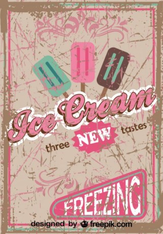 Retro Ice Cream Poster Design New Tastes Free Vector