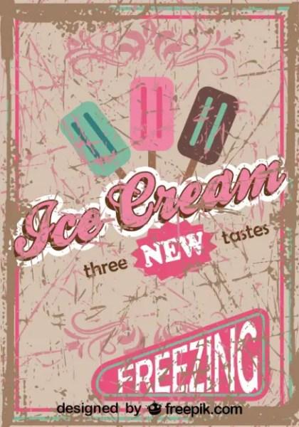 Retro Ice Cream Poster Design New Tastes Free Vector