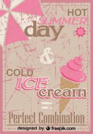 Retro Ice Cream Poster Design Perfect Mix Free Vector