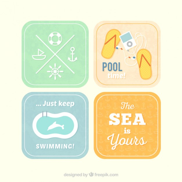 Retro Labels for Summer Free Vector