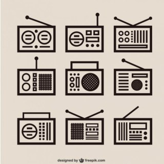 Retro Radio Outlines Pack Free Vector