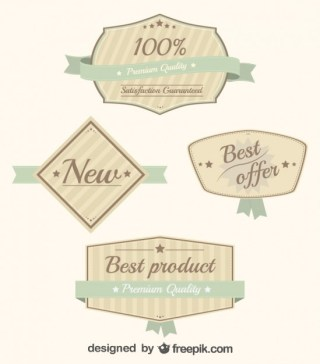 Retro Ribbon Business Stickers Set Free Vector