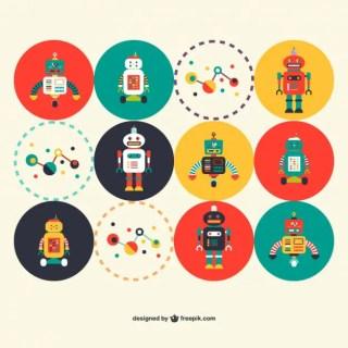 Retro Robots Science Free Vector