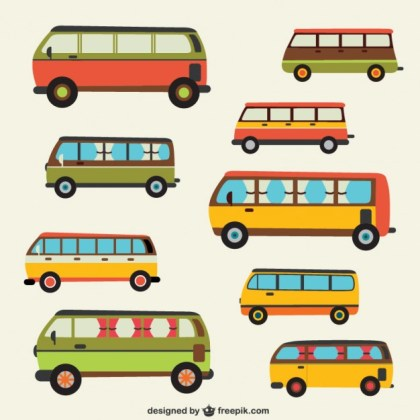 Retro Style Buses Pack Free Vector