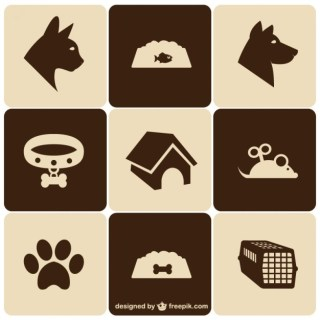 Retro Style Pet Icons Free Vector