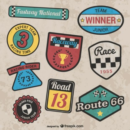 Retro Style Racing Stickers Free Vector