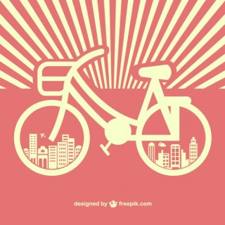 Retro Sunburst Bicycle Free Vctor Free Vector