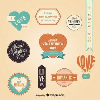 Retro Valentines Day Badges Set Free Vector