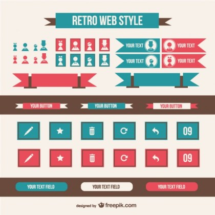 Retro Web Style Elements Free Vector