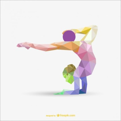 Rhythmic Gymnastic Woman with Ball Triangle Color Design Free Vector