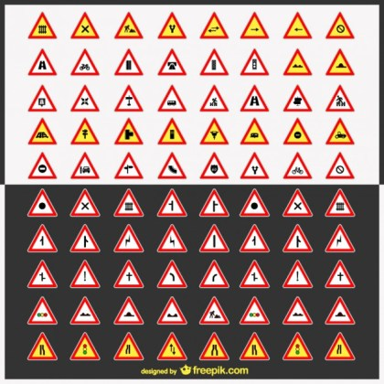 Road Signs Pack Free Vector