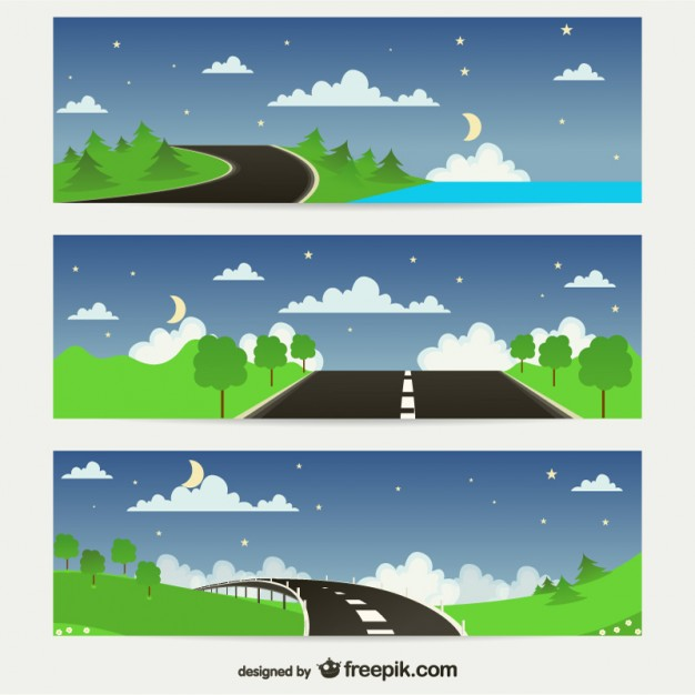 Roads in Nature Banners Free Vector