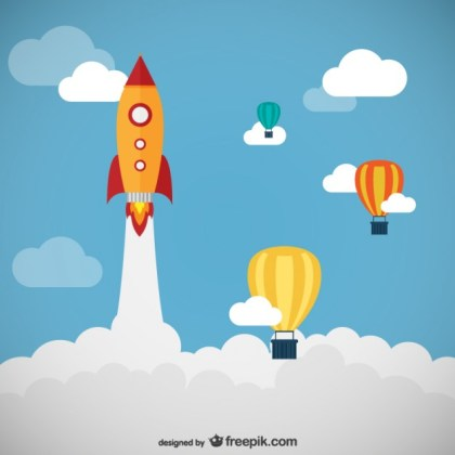 Rocket and Balloons Free Vector