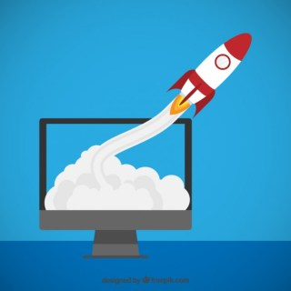 Rocket Flying Out of The Monitor Free Vector