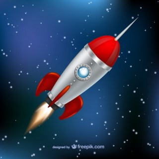 Rocket Flying Through Space Free Vector