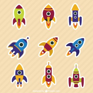 Rockets Collection in Cartoon Style Free Vector