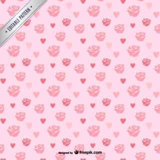 Roses and Hearts Pattern Free Vector