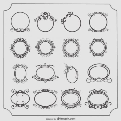 Round and Oval Vintage Frames Set Free Vector