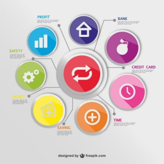 Round Buttons Economy Infographic Free Vector
