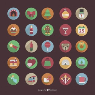 Round Christmas Color Icons Free Vector