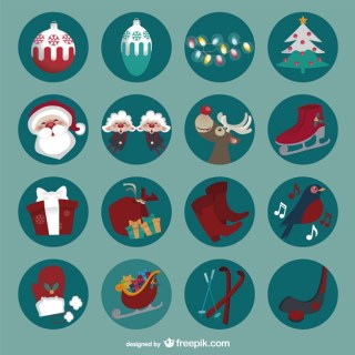 Round Christmas Icons Free Vector