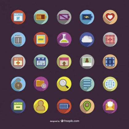 Round Icons with Colors Free Vector