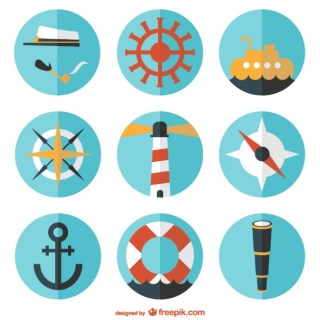 Round Nautical Flat Free Vector