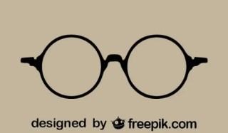 Round Retro Glasses Icon Free Vector