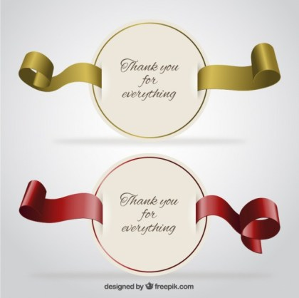 Round Thank You Cards Free Vector