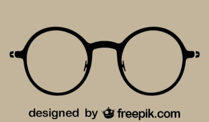 Round Vintage Glasses Silhouette Icon Free Vector