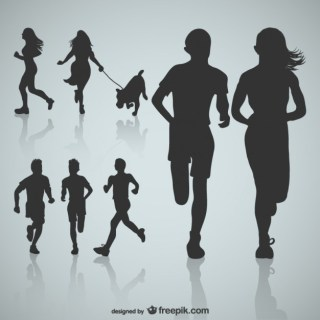 Runner Sihouettes Free Vector