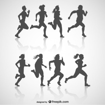 Runners Silhouette Free Free Vector