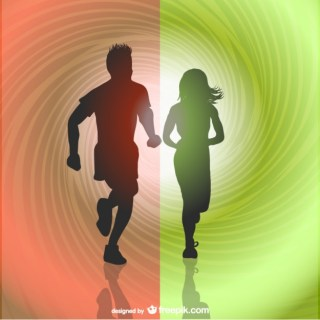Runners Silhouettes Free Vector