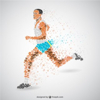 Running Man Abstract Art Free Vector