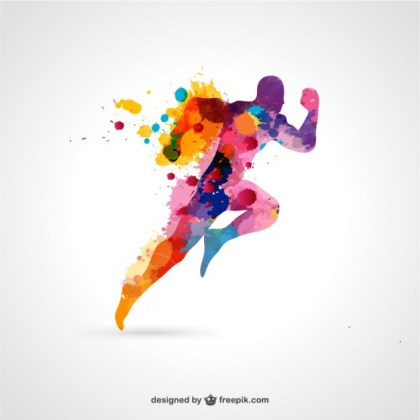 Running Man Free Color Splash Free Vector