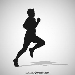 Running Man Silhouette Free Vector