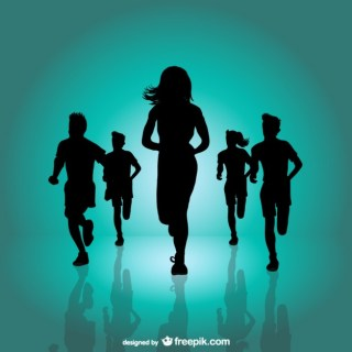 Running Marathon Background Free Vector