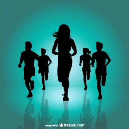 Running Marathon Background Free Vector