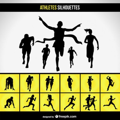 Running Race Silhouette Free Vector